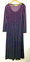 Vtg Purple Velvet Velour Dress Maxi Long Sleeve Button Victorian Artsy Fits 14 h