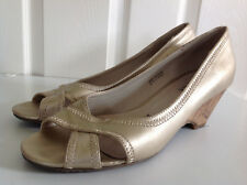 DEBENHAMS GOOD FOR THE SOLE gold WIDER FIT cork wedge peep toe shoes UK 8 41
