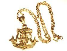 Vintage 14K Gold Mariners Crucifix Cross Pendant Necklace Jesus Christ Anchor