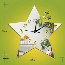TY Modern Mute 3D DIY Wall Clock Mirror Surface Sticker Decor Star Silver O#02B