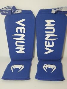 Venum Kontact Slip-On MMA Shin and Instep Guards Blue Large Martial Arts