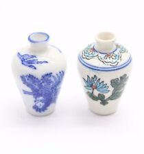 NEW 1/12th Scale Dolls House Accessories 2 x Ceramic Vases Pretty Floral Design