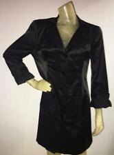 Bebe Women's Size Large Lightweight Black Button Down Trench Coat Dress Jacket