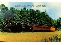 Steam Locomotive Lumber Jack Special RR Train-Laona-Wisconsin-Vintage Postcard