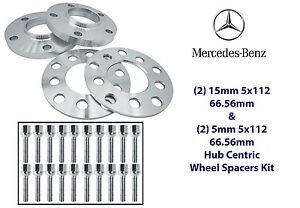 Mercedes Benz Wheel Spacers Kit 5x112 (2) 5mm & (2) 15mm Fits: W203 W209 W210