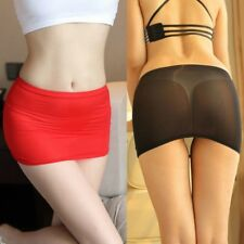 Señoras falda transparente Sexy Micro Mini ver a través de desgaste Corto Bodycon invisible