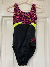 Gk Elite Gymnastic Dance Leotard Black Pink Leopard Child Xs
