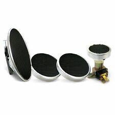 Oval Floor Mount Gas Pedal, Round Brake/Clutch/Dimmer Pad   Chromed Billet