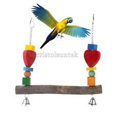 Wooden SWING BIRD TOY parrot cage toys with Bell parakeet cockatiel lovebird