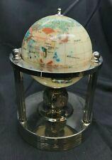 Semi Gemstone Rotating World Globe Clock Hygrometer Thermometer Tabletop Stand