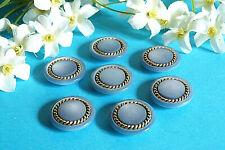 """1024B/Stunning Buttons """" Twist """" Blue Golden Set Of 7 Buttons Ép. 1970/80"""