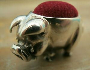 Edwardian Style English Hallmarked Sterling Silver Pig Pin Cushion - Red Velvet