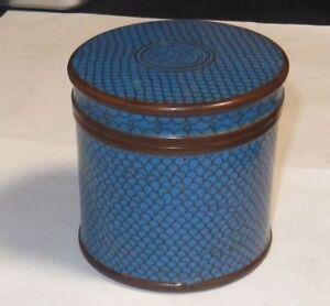 RARE TURQUOISE CLOISONNE ENAMEL HUMIDOR CANISTER JAR BOX