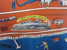 "Vtg Friendship House Restaurant Menu Cartoon Map Biloxi Mississippi 31"" 1950s"