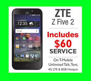 NEW Simple Mobile ZTE Z Five 2 4G Prepaid Smartphone + $60 Unlimited LTE Plan