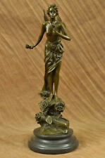 Bronze Papillon by Emmanuel Villanis Wing Angel Fairy Holding Rose Art Sculpture