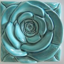 The Turquoise Rose Tile - Home Decor Turquoise Wall Decor Turquoise Roses Accent