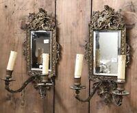 Paire d Applique Miroir Bronze Doré Napoléon III Ancien Louis XV