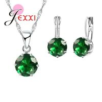 925 Sterling Silver Green CZ Crystal Necklace Pendant and Earring Set UK SELLER