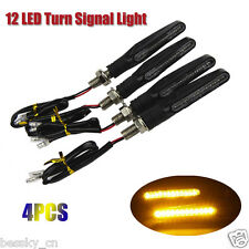 4PCS  Universal 12V Motorcycle 12 LED Turn Signal Indicator Blinkers Light Amber