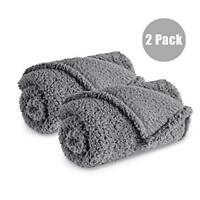2 Pack Premium Soft Warm Fluffy Fleece Dog Blanket Washable Pet Throw Blanket