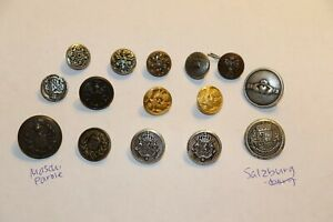 Mixed Lot 15 Brass Metal Buttons Claddagh Waterbury Superior Eagle Maschi Parole