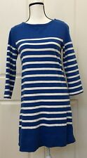 J.CREW Women's Tunic Dress Blue White Striped Size XS Zippers 100% Cotton