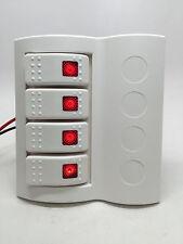 MARINE BOAT SPLASHPROOF WHITE SWITCH PANEL 4 GANG RED LED ROCKER CIRCUIT BREAKER