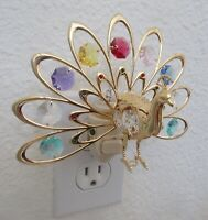 Night Light- PEACOCK- gold plated -multi color crystals -blue purple red yellow