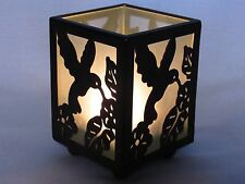 "3.5"" Metal & Frosted Glass Hummingbird Footed Votive Candle Holder Copper Finish"