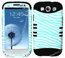 KoolKase Hybrid Silicone Cover Case for Samsung Galaxy S3 - ZEBRA Light Blue