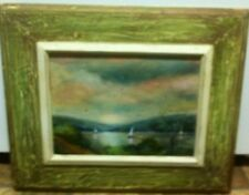 Vintage Oil Painting Impressionistic Sailboats On Cayuga Lake Ithaca Ny/Cornell