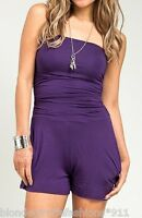Purple Ruched Bodice Tube Shorts Romper/Jumper/Cat Suit w/ Pockets