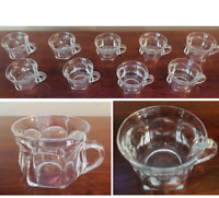 VIntage 4 oz. Clear Glass Punch Bowl Snack Cups 6-Panel Colonial Set of 9