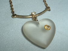 VINTAGE GOLDTONE FROSTED LUCITE HEART WITH RHINESTONE PENDANT NECKLACE CHAIN