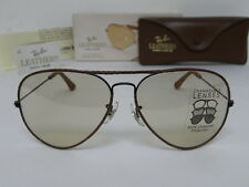 New Vintage B&L Ray Ban Large Metal II Leathers Woven W0373 Blk Brown Changeable