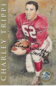 Charlie Trippi Chicago Cardinals  Autographed Ron Mix Gold Football HOF Card