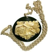 Intricate Celluloid & Green Bakelite Carved Flowers Necklace on Celluloid Chain