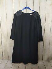 Dressbarn Womens Plus Size 20 Black 3/4 Sleeve Faux Leather Shoulder Patch Dress