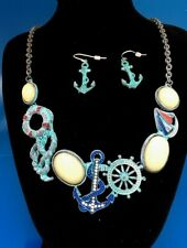 "Anchor PATINA Boat Wheel  yellow stone chain Necklace 18"" w/ Earrings J12-4/2"