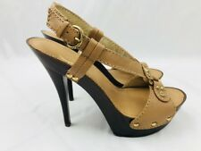 Jessica Simpson Gody High Heels  Brown Slingback Platform Sandals Shoes Size 6 B