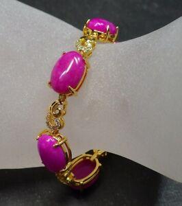 Gold Plate Pink Lavender JADE Cabochon Bangle Bracelet Diamond Imitation 322778