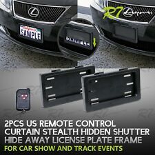 FOR LEXUS SCION! 2X POWERED REMOTE CURTAIN COVER HIDE AWAY LICENSE FRAME PLATE