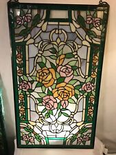 """Stained Glass Beautiful Panel 35x20""""No Damage or loss.12pixs4Closeups.MAKE OFFER"""