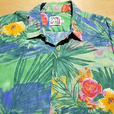 Jams World Tropical Floral Watercolor Rayon Short Sleeve Shirt L Made in Hawaii