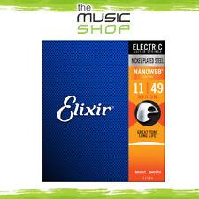3 Sets of Elixir Nanoweb 11-49 Medium Electric Guitar Strings - 12102 Bulk Buy