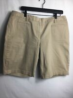 Lands End Women's Size 14 Bermuda Shorts Khaki/Tan Mid Rise Barely Worn!!