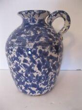 "Pinewood Valley Pottery Blue & White Spongeware Jug 5 3/4"" Tall"