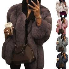 Plus Size Women Faux Fur Coat Warm Fluffy Jacket Long Sleeve Casual Outerwear AU