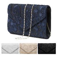 Retro Lace Satin Clutch Handbag Envelope Wedding Prom Bride Evening Shoulder Bag